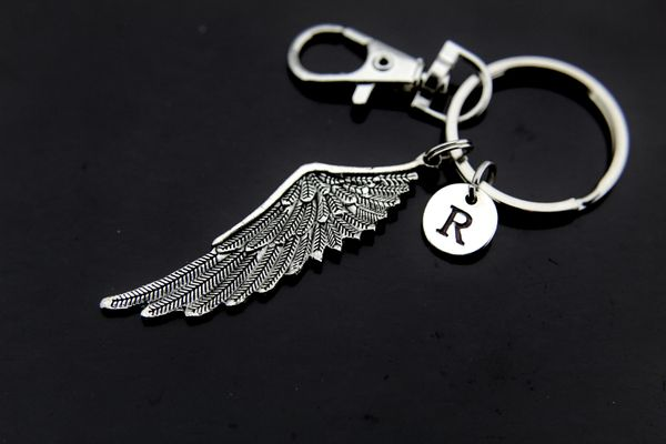 Silver Guardian Angel Wing Charm Keychain Personalized Keychain