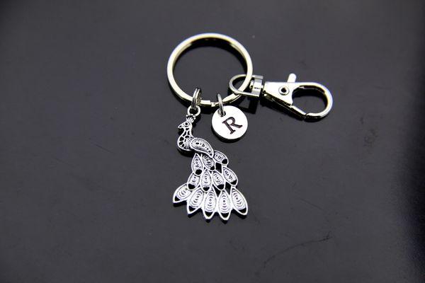 Silver Peacock Charm Keychain Personalized Keychain