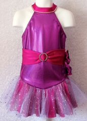 Figure Skating Dress Designer Fuschia/Lavender Tulle Girls 10
