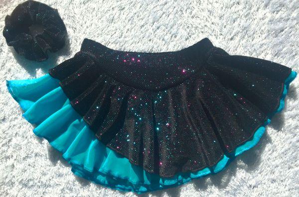 Figure Skating Circular Skirt in Black Multi Glitter Velvet Girls 10