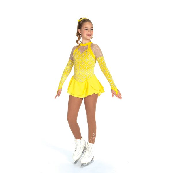 Jerry's Silver-On-Citron Figure Skating Dress