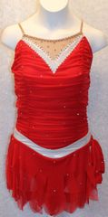 Figure Skating Dress Red Mesh Metallic Silver Ladies Small by Sharene