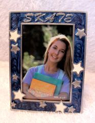 Dasha SKATE Pewter Picture Frame Blue with White Stars 4 by 6