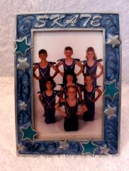 Dasha SKATE Pewter Picture Frame Blue with Blue Stars 4 by 6