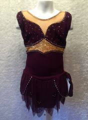 Figure Skating Dress Eggplant Mesh Gold Sequins Girls Medium by Sharene