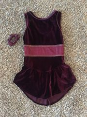 Used Figure Skating Dress GK Elite Burgundy Velvet Adult Medium