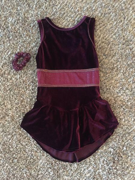 Used Figure Skating Dress GK Elite Burgundy Velvet Adult Medium