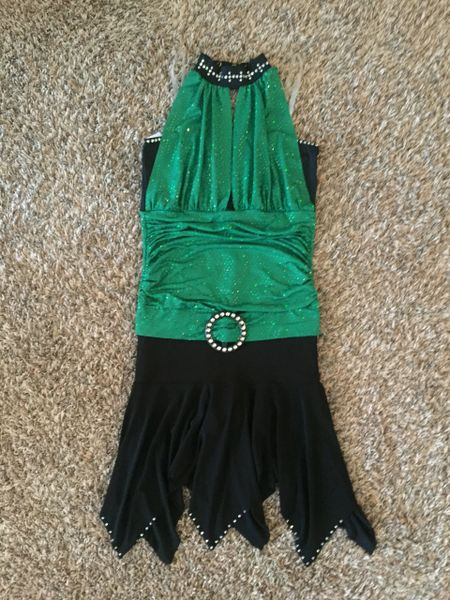 Used Figure Skating Dress Metallic Kelly Green and Black Lycra Adult Small