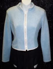 Figure Skating Jacket Baby Blue Polar Fleece Rhinestone Zipper Adult