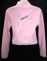 Figure Skating Jacket Pink Polar Fleece with Embroidery Adult Medium