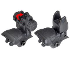 Tactical Smart Polymer Front And Rear Flip Up, Push Down Sight Set