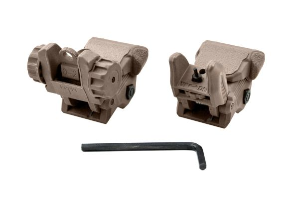 Tactical Smart Polymer Front And Rear Flip Up Sight Set, Tan