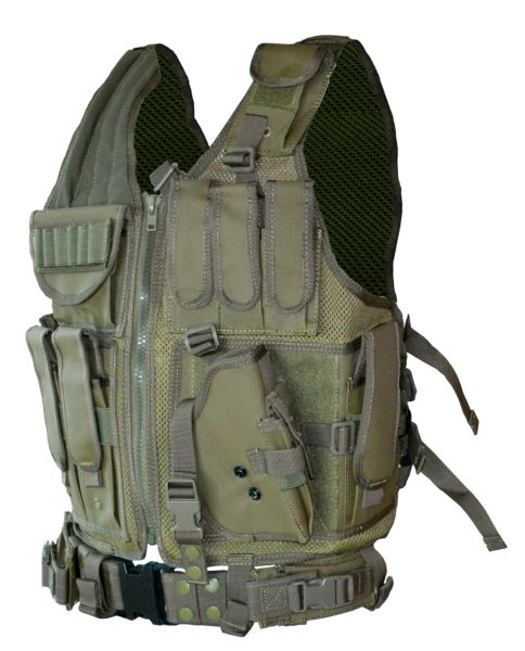 Cross Draw Tactical Multi Function Vest, Green