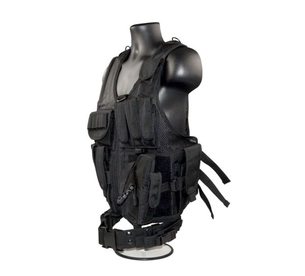 Cross Draw Tactical Multi Function Vest, Black