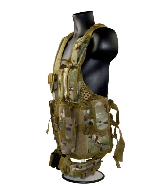 Cross Draw Tactical Multi Function Vest, Tan Camouflage