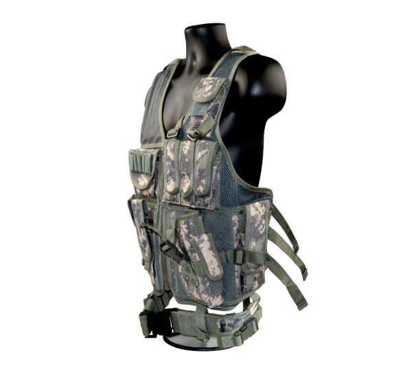 Cross Draw Tactical Multi Function Vest, Green Camouflage