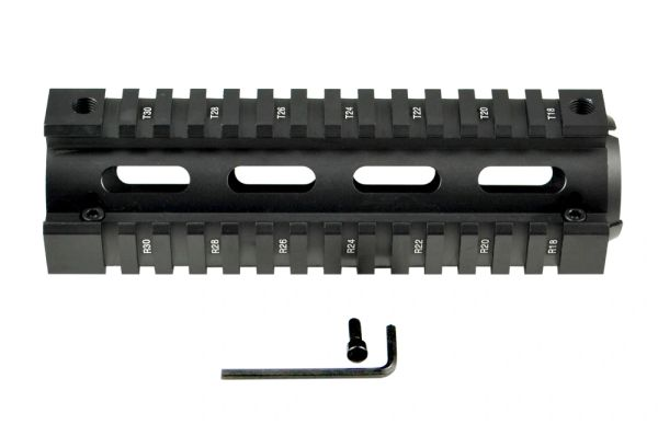 "2 Piece Drop In Quad Rail Handguard .308's with Round End Caps, 6.75"" Carbine Length"