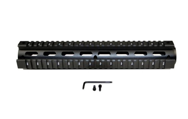 "2 Piece Drop In Quad Rail Handguard for .308's with Round End Cap, 12.5"" Rifle Length"