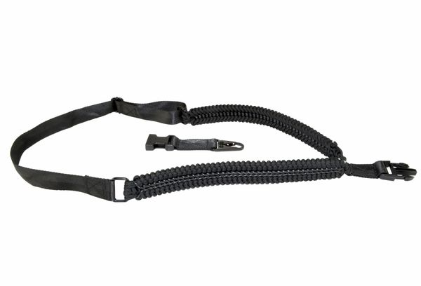 All Black Paracord Tactical Single Point Sling AR Clip Style