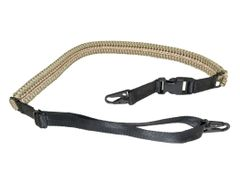 Tan and Black Paracord Tactical 2 Point Sling with 2 Quick Detach Hooks