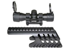 Remington 870 Shotgun Low Profile Handguard Rail Mount and Sniper 35mm Red/Green Dot Scope Combo