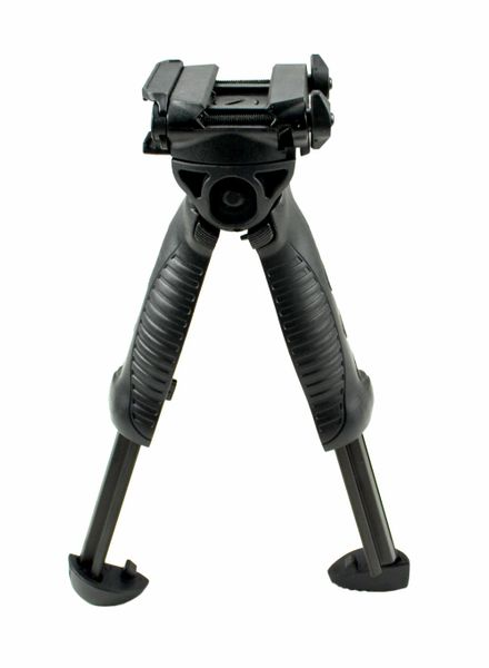Bipod Grip with Picatinny Rail, Height Adjustable, Black