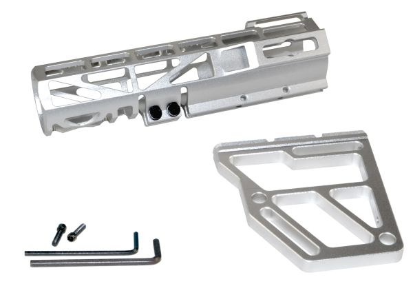 Presma Skeletonized Pistol Arm Brace, Silver Anodized Aluminum