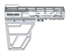 Skeletonized Pistol Arm Brace, Silver Anodized Aluminum