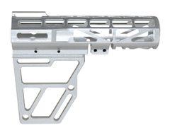 Skeletonized Pistol Arm Brace, Silver Anodized Aluminum