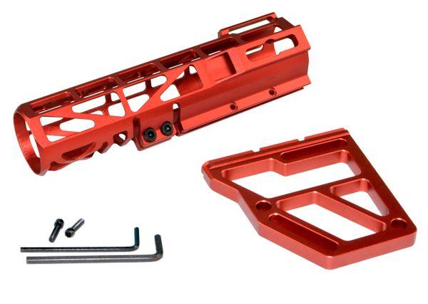 Skeletonized Pistol Arm Brace, Red Anodized Aluminum
