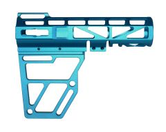 Skeletonized Pistol Arm Brace, Blue Anodized Aluminum