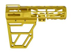 Skeletonized Pistol Arm Brace, Gold Anodized Aluminum