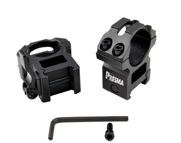 Presma® Wing Series, 1 inch Quick Release Scope Rings, High Profile