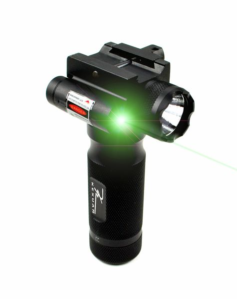 Kexuan Aluminum Fore Grip with Flashlight and Green Laser Sight