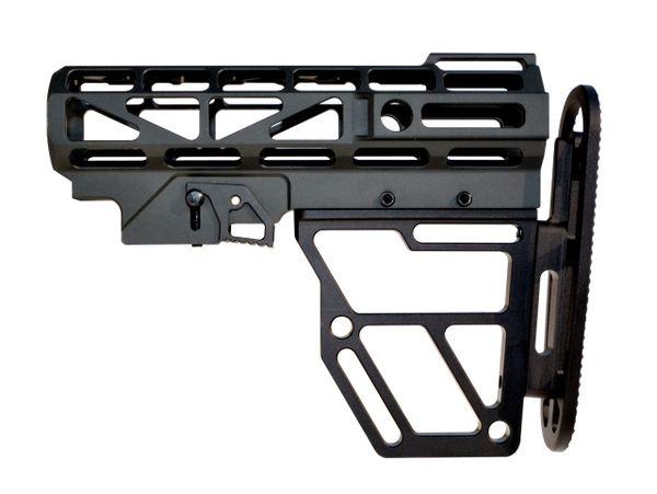 Skeletonized AR Mil Spec Buttstock, Black Anodized Aluminum. Presma Brand.