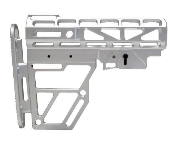 Skeletonized AR Mil Spec Buttstock, Silver Anodized Aluminum. Presma Brand.