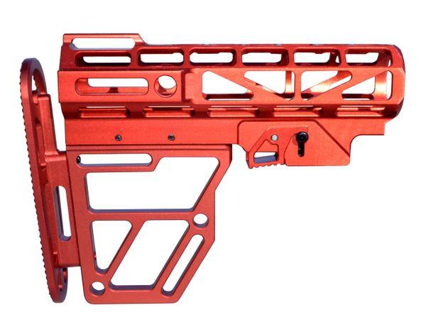Skeletonized AR Mil Spec Buttstock, Red Anodized Aluminum. Presma Brand.