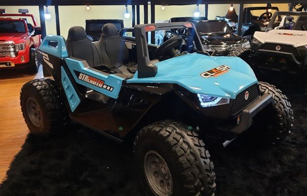 Ages 1-10. Two kids 24V Touch TV Bluetooth Speakers Giant UTV AGES 2-10 RIDE WITH REMOTE OR PRESS ON PEDAL AND GO .. BUGGY RUBBER TIRES LEATHER SEAT
