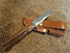 "10"" Zebrawood Knife with Helle Blade and Sheath"