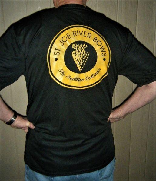 St Joe Logo T moisture wicking Black w/Gold logo Womans sizing
