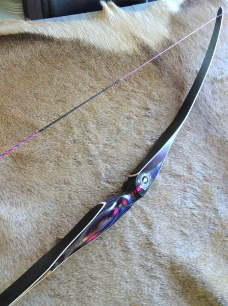 "58"" 28#@28"" Purple, Blue, Pink, Black Striped Actionwood with Black Glass Torrent Longbow"