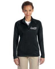 Qualtek Devon & Jones Ladies' Stretch Tech-Shell® Compass Quarter-Zip Black, Navy and Grey