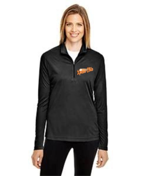 Xpress Black Womens 1/4 zip with embrioder