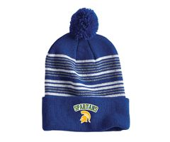 "Schmucker Spiritwear - 12"" Striped Pom Beanie"