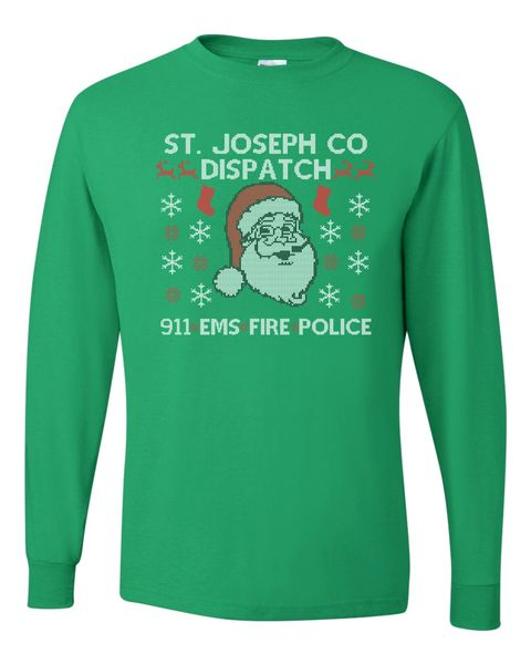 911 Dispatch Ugly Christmas Long Sleeve T