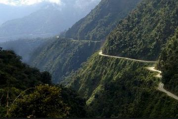 Death Road near La Paz, Bolivia, Adventure motorcycle guided tour, south America, Bolivia