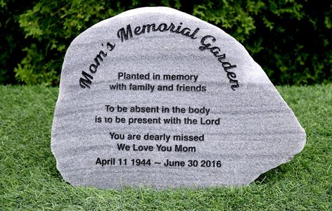 Memorial stone on polished split field stone - Mom's Memorial Garden