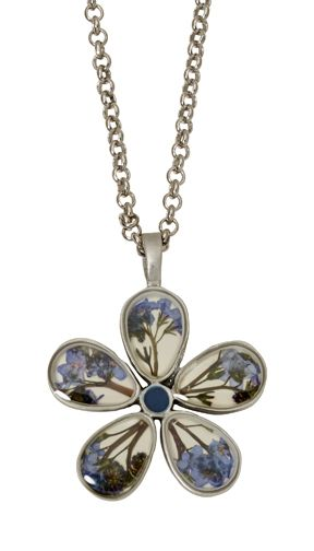 Forget Me Not Five Petals on Linen Necklace