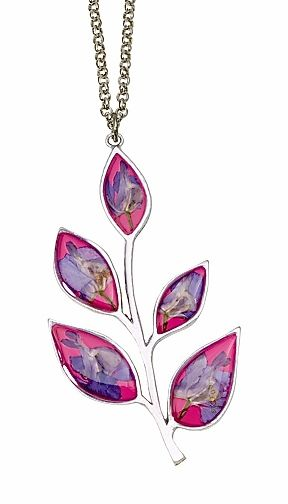 Larkspur Five Petals on Magenta Enameled Background Necklace