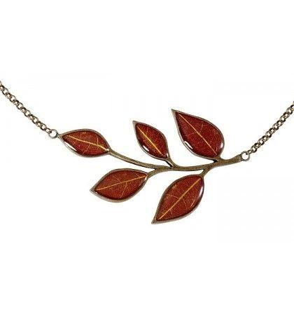 Yellow Wintersweet Five Petals on Red Enamel Necklace